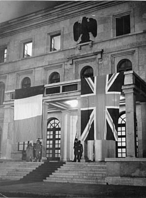 Das Gebäude auf dem Königlichen Platz in München, in dem die Begegnung zwischen Adolf Hitler, dem italienischen Regierungschef Benito Mussolini, dem britischen Premierminister Chamberlain und dem französischen Ministerpräsidenten Daladier stattfand.