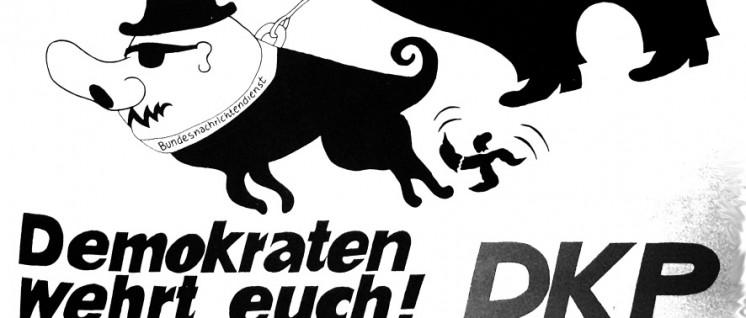 """Plakat der DKP von Guido Zingerl aus dem Band """"Plakate 1968-1978"""", der im Mai 1981 anlässlich des 6. Parteitags der DKP herausgegeben wurde."""
