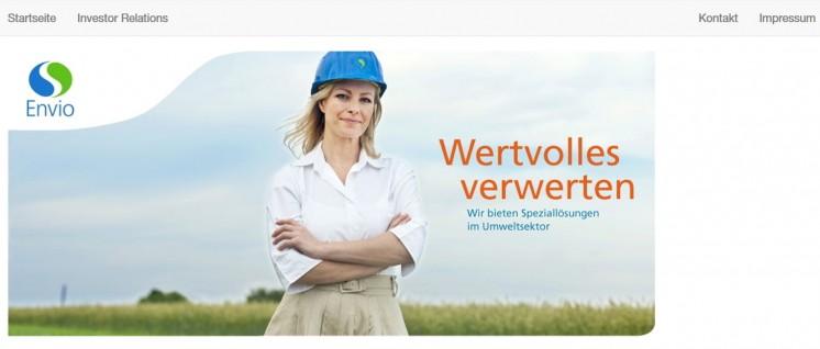 Virtueller Umweltschutz: Die Homepage der Envio AG