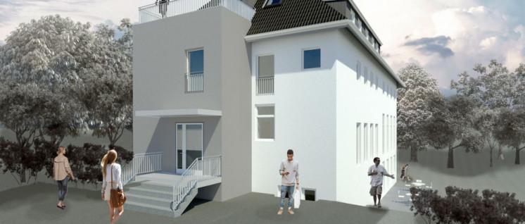 So soll die KLS im Frühjahr 2020 aussehen! Visualisierung des Architekten – schon mit neuem Eingangsbereich und eingebautem Lift