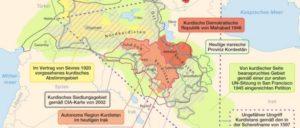 Karte zu kurdischen Gebieten und Gebietsansprüchen mit historischen Eckdaten (wikimedia). (Foto: [url=https://commons.wikimedia.org/wiki/File:Umgriffe_Kurdistans.png]Maximilian Dörrbecker (Chumwa)/Wikimedia Commons[/url])