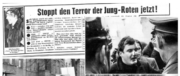 BILD schoss mit. Im Jahr 1968 riefen deutsche Medien zur Gewalt auf. (Foto: Stiftung Haus der Geschichte / wikimedia / CC BY-SA 2.0 / Montage: UZ)