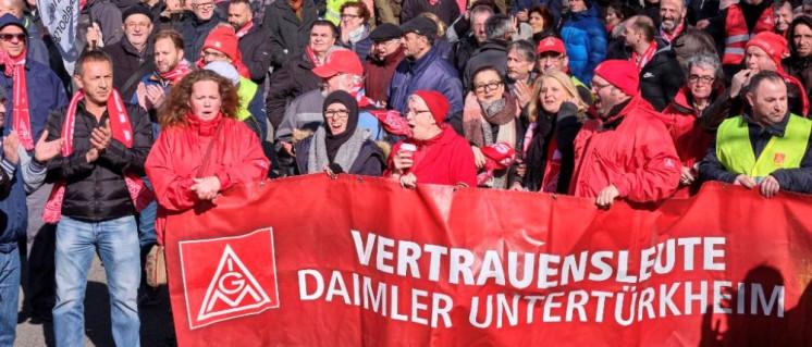 Auch andere Delegationen waren vor Ort und unterstützten die Bosch-Kolleginnen und -Kollegen am 13. März. (Foto: Joachim E. Roettgers)