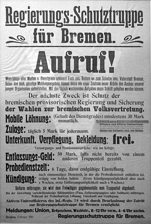 """Nach Niederschlagung der Räterepublik in Bremen wurde vom Militärbefehlshaber eine provisorische Regierung aus Mitgliedern der Mehrheitssozialisten (MSPD) eingesetzt. Eine der ersten Tätigkeiten war die Gründung einer """"Regierungsschutztruppe""""."""