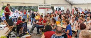 Das Streikzelt am Essener Klinikum ist das Zentrum der Streikenden und der Solidarität. (Foto: Dave Kittel)