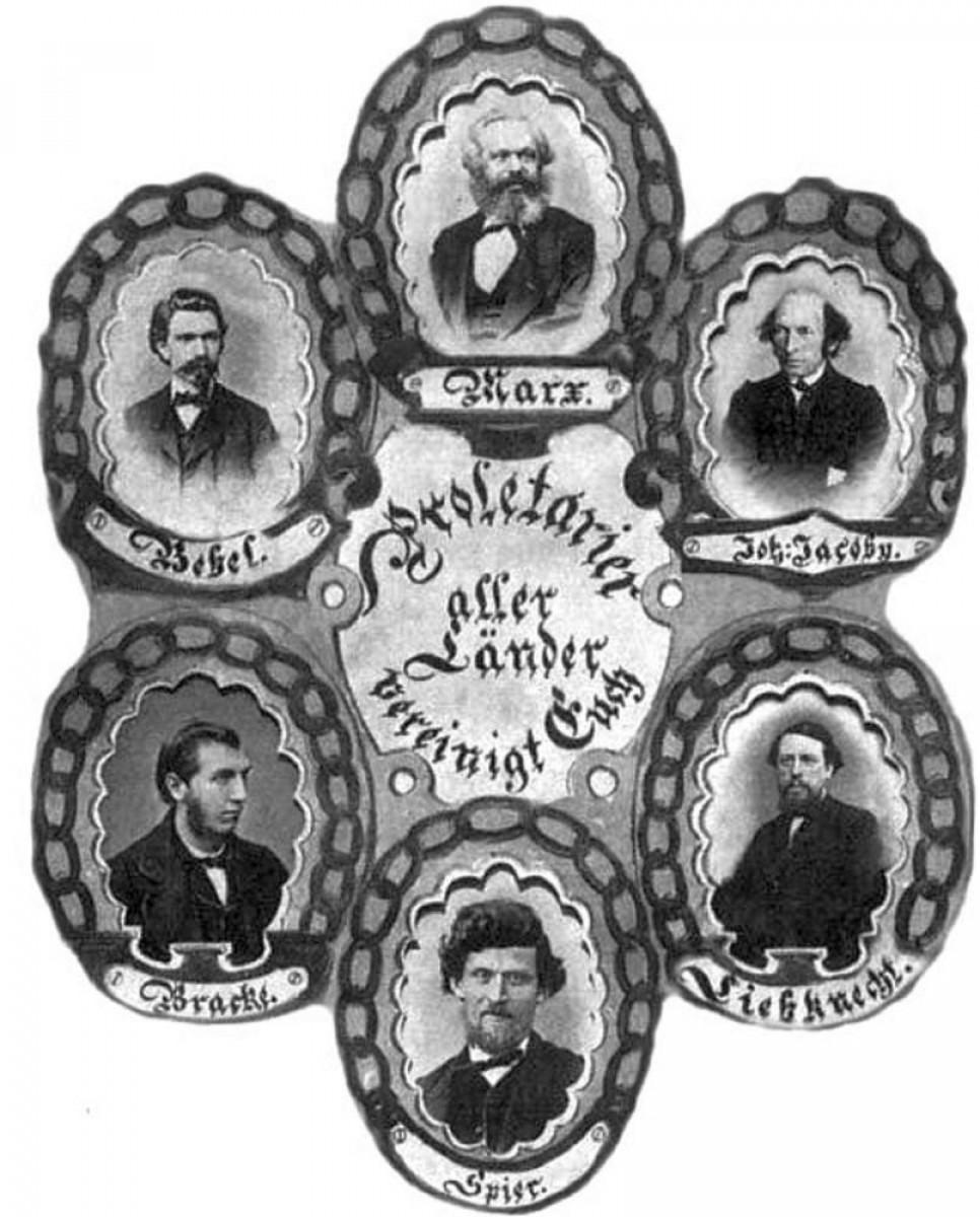 """Ein zeitgenössisches """"Ketten-bild"""", das den Theoretiker Marx und führende Köpfe der jungen Sozialdemo-kratischen Arbeiterpartei zeigt."""