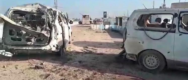 Durch türkische Bomben zerstörter ziviler Konvoi in Afrin. (Foto: ANF NEWS)