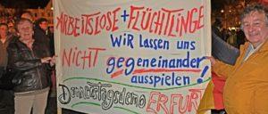 Es reicht! Erfurter Bürger haben genug von den wöchentlich stattfindenden faschistoiden Ausfällen der AfD und dem Nazigebrüll ihrer Anführer.  Die demokratischen Kräfte Erfurts und des Landes haben sich zu einem breiten Bündnis zusammengeschlossen. (Foto: Uwe Pohlitz/r-mediabase.eu)