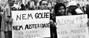 """""""Weder Putsch noch Sparpolitik – Weg mit Cunha! – Weg mit Merkel!"""" Demonstration der 200 000 am 20. August. (Foto: Gauer)"""