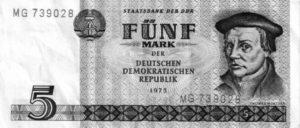 Thomas Müntzers Porträt auf dem 5-Mark-Schein der DDR