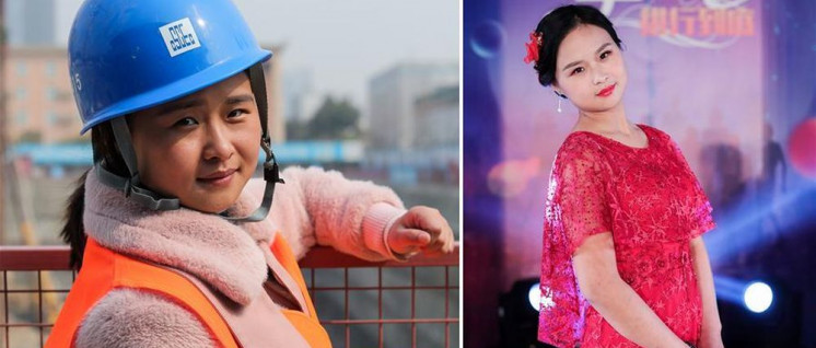 Bauarbeiterin Li Xiaoling trat bei einer Modeschau zum Internationalen Frauentag in Xi'an als Model auf. (Foto: Xinhua )