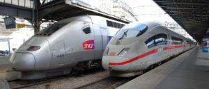Die nationalen Prestigeobjekte ICE und TGV sollen zukünftig mehr abwerfen (Foto: [url=https://commons.wikimedia.org/wiki/File:TGV-POS_%26_ICE-3M_(8067623398).jpg]Hugh Llewelyn/Wikimedia Commons[/url])