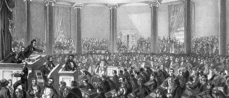 Frankfurt am Main, Paulskirche: Sitzung der Nationalversammlung, wahrscheinlich im Juni 1848. Sprecher ist Robert Blum. Zeichnung von Ludwig von Elliott, 1848 (Foto: public domain)