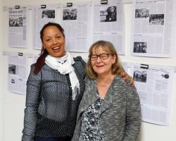 In der UZ-Redaktion: Gladys Ayllón (l.) mit Petra Wegener, Vorsitzende der Freundschaftsgesellschaft BRD-Kuba, die das Gespräch übersetzte.