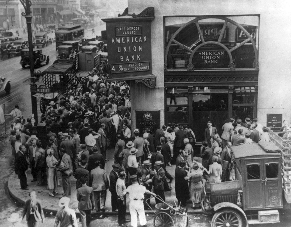 Menschenauflauf an der Wall Street kurz nach dem Schwarzen Donnerstag, Oktober 1929