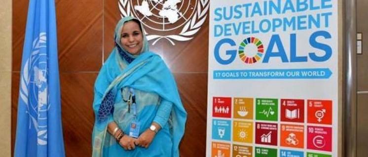Omeima Abdeslam Repräsentantin der Polisario-Front (Frente Popular para la Liberación de Saguia el Hamra y Rio de Oro– Volksfront zur Befreiung von Saguia el Hamra und Rio de Oro) in der Schweiz und bei der UNO in Genf. (Foto: Presseagentur der Demokratischen Arabischen Republik Sahara)