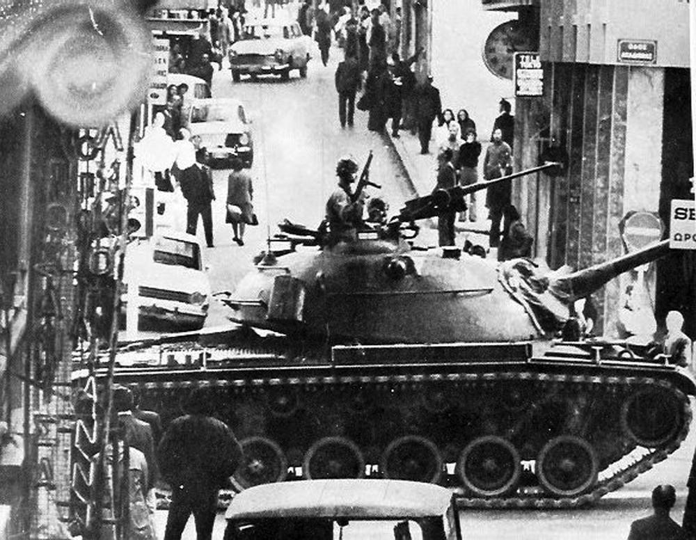 Panzer in den Straßen von Athen