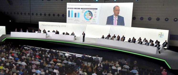 Werner Baumann, Vorstandsvorsitzender der Bayer AG, bei seiner Rede anlässlich der Hauptversammlung 2018 vor den Aktionären. (Foto: Bayer AG)