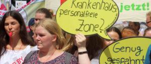 20. Juni 2018 in Düsseldorf: Eindrucksvolle Demonstration für mehr Personal in der Pflege (Foto: Werner Sarbok)