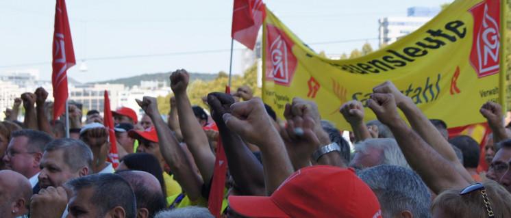 Streik bei Halberg Guss in Saarbrücken (19.September 2018). (Foto: Die Linke Saarland)
