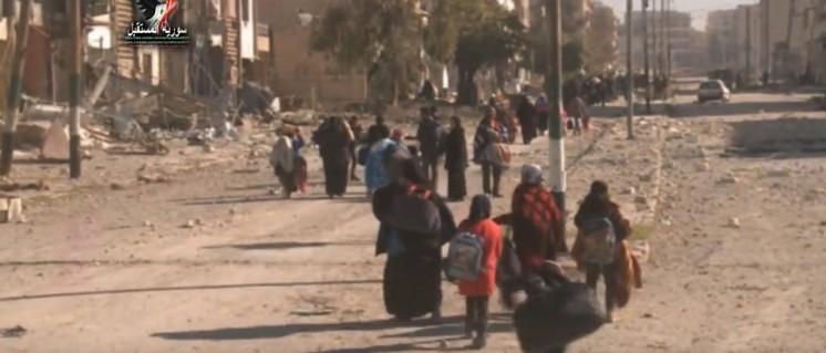 Das Vordringen der syrischen Armee in den Ostteil Aleppos ermöglicht Tausenden von Zivilisten, der Kontrolle der Dschihadisten zu entkommen (28.November 2016). (Foto: Screenshot Syrisches Fernsehen)
