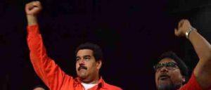 PCV-Generalsekretär Oscar Figuera (r.) und Präsident Maduro: Die Kommunistenunterstützen die Regierung und kritisieren Korruption und Bürokratismus. (Foto: PCV)