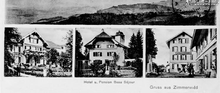 """Hier fand die Konferenz statt: Postkarte des Hotels und der Pension """"Beau Sejour"""", Zimmerwald (1904) (Foto: http://www.panoramio.com/photo/16755103/public domain)"""