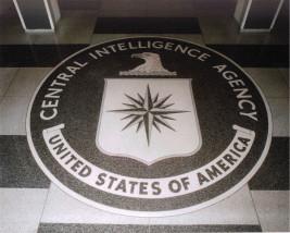 Das Siegel der U.S. Central Intelligence Agency auf dem Boden der Eingangshalle des ursprünglichen Hauptquartiers der CIA.