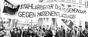 Demonstration in Thionville, Frankreich, gegen die Massenentlassungen in der Stahlindustrie 1978 (Foto: UZ-Archiv)