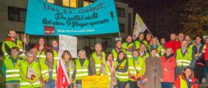 Streikauftakt bei der Marienhausklinik Ottweiler zum ersten Streik in einem kirchlichen Krankenhaus. (Foto: ver.di)