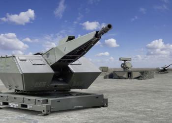 """Rheinmetall wirbt: """"Oerlikon Skyshield® ist ein Allwetter-Nahbereichs-Flugabwehrsystem zum Schutz hochwertiger Einrichtungen."""""""
