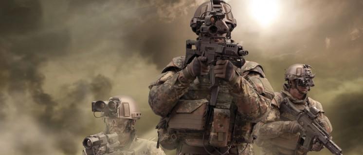 """Rheinmetall wirbt: """"Mit dem Gladius-System ... setzt sich die Bundeswehr in der Ausrüstung ihrer infanteristischen Kräfte auch im internationalen Vergleich an die Spitze vor allem in puncto Vernetzung, Führungsfähigkeit und Effizienz im Einsatz.""""  (Foto: Rheinmetall-Pressebild)"""