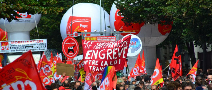 CGT-Proteste gegen die Politik der Regierung Macron (Foto: [url=https://www.flickr.com/photos/jmenj/37019755392/]Jeanne Menjoulet[/url])