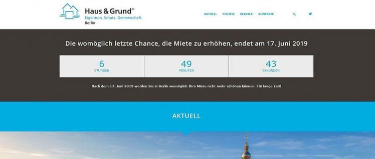 """Auf seiner Website warb """"Haus & Grund"""" mit einer """"Doomsday-Clock"""" am Vortag der Entscheidung des Berliner Senats für die Erhöhung der Mieten.  (Foto: Screenshot)"""