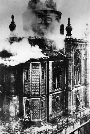Brennende Synagoge in Wiesbaden, 1938