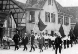 Mössinger Kommunisten auf einer Demonstration in Tübingen 1932