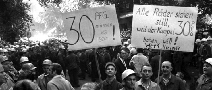 Spartakus (AMS) und SHB zogen Schlussfolgerungen aus den Septemberstreiks 1969 (hier Hoesch-Stahlarbeiter, Dortund) (Foto: Klaus Rose/ Bildarchiv)