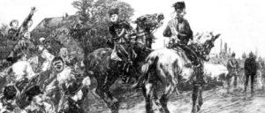 Jugendliche Arbeiter bedrohen im westfälischen Kohlenrevier eine Militärpatrouille, 1889. Zeitgenössische Darstellung von Th. Picholl