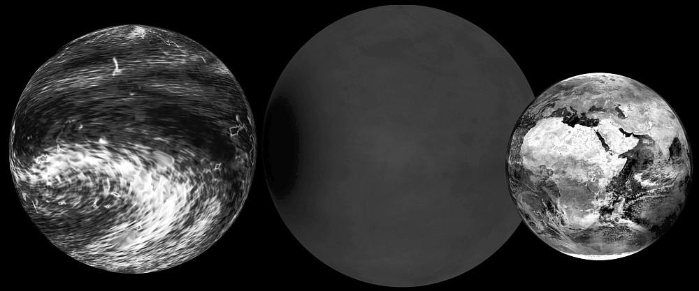 """Hypothetische """"Supererden"""" im Vergleich zur Erde (links)."""