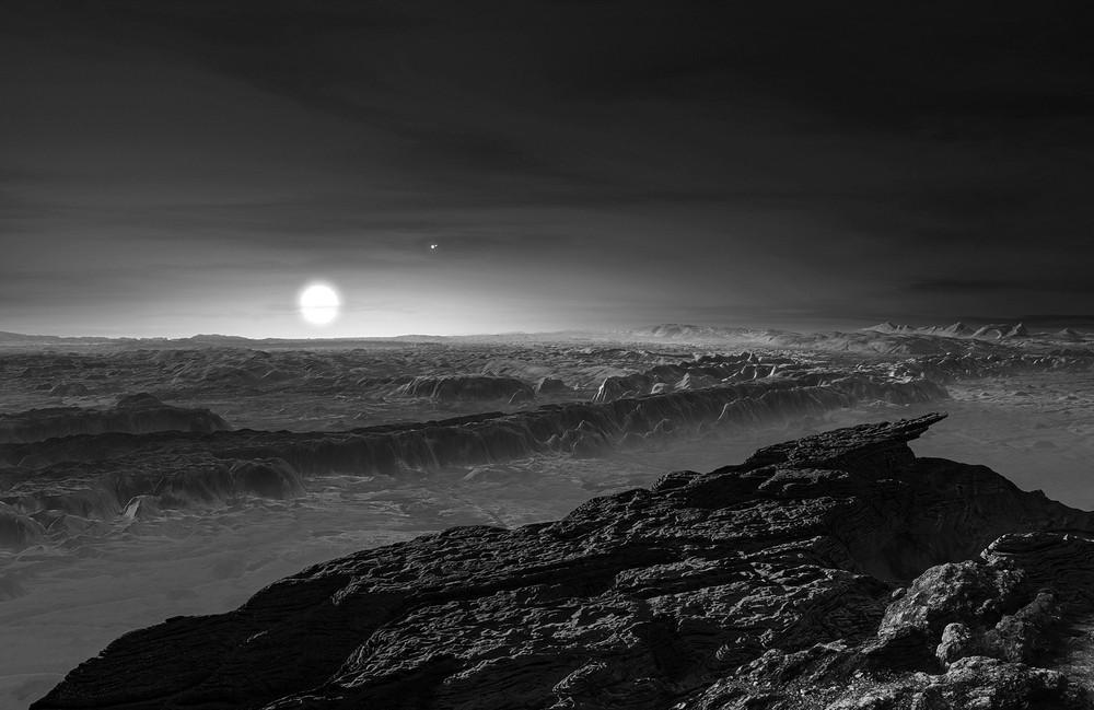 Diese künstlerische Darstellung zeigt einen Blick auf die mögliche Oberfläche des Planeten Proxima b. Auch der Doppelstern Alpha Centauri AB ist zu sehen (rechts von dem Zentralgestirn Proxima).