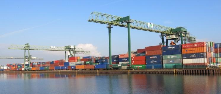 So wie im Containerhafen Dortmund soll es demnächst auch in Düsseldorf-Reisholz zugehen. (Foto: Tbachner/ common.wikimedia.org/CC  BY 3.0)