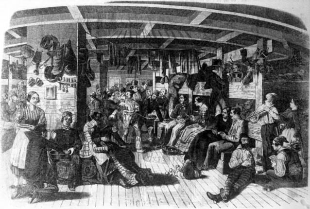 """Deutsche Auswanderer auf dem Weg in die USA auf dem Schiff """"Samuel Hop"""" (geschönt, Zeichnung), 1850"""