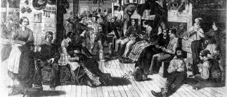 """Deutsche Auswanderer auf dem Weg in die USA auf dem Schiff """"Samuel Hop"""" (geschönt, Zeichnung), 1850 (Foto: Bundesarchiv, Bild 137-041316 / CC-BY-SA 3.0)"""