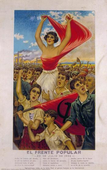 """Eine zeitgenössische Darstellung der spanischen """"Frente Popular"""" ."""