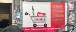 ver.di hat in Köln Plakatwände angemietet und informiert darauf über den Medienkahlschlag. (Foto: ver.di Köln)
