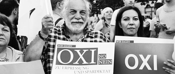 Aufruf 'OXI' gegen das Spardiktat von EU, EZB, IMF und der Deutschen Regierung in Berlin (Foto: Rudi Denner/r-mediabase.eu)