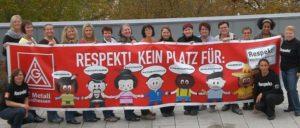 Aktion der IG Metall Nordhessen gegen Sexismus, Homophobie, Rassismus, Antisemitismus, Diskriminierung, Chauvinismus und Mobbing