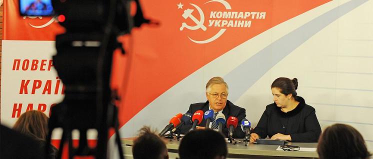 Der Präsidentschaftskandidat der Kommunistischen Partei der Ukraine (KPU), der Parteivorsitzende Pjotr Simonenko, bei einer Pressekonferenz während der Parlamentswahlen 2012 (Foto: [url=https://commons.wikimedia.org/wiki/File:Petro_Symonenko_04.JPG]http://symonenko.info/uk/photo/7/parlamentskye-vybory-28102012[/url])