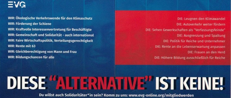 """Wo stehen """"Die"""", wo steht die Gewerkschaft: Kampagne der EVG gegen die rechten Demagogen."""
