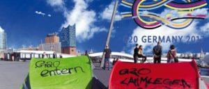 Der G20-Gipfel-Knoten am Hamburger Horizont (Foto: Montage UZ)